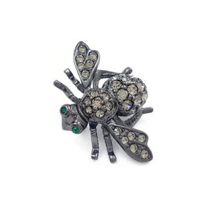 Joan Rivers Black Bee Crystal Pin
